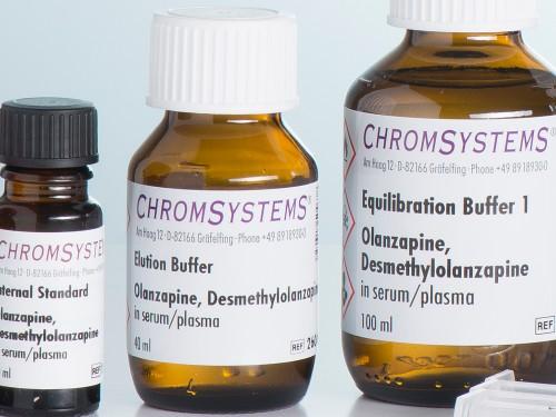 26010 HPLC elution buffer olanzapine desmethylolanzapine serum plasma
