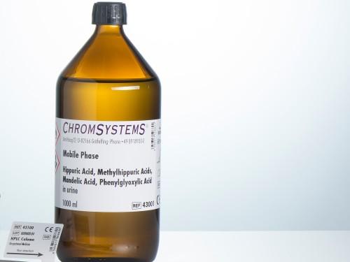 43001 HPLC mobile phase hippuric acid methylhippuric acid mandelic acid phenylglyoxylic acid urine